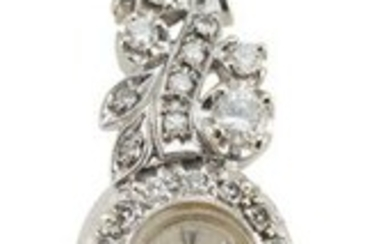 HAMILTON 14KT WHITE GOLD AND DIAMOND WATCH Total weight