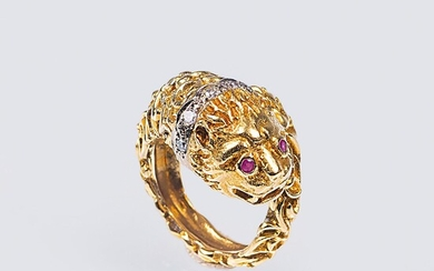 Ilias Lalaounis Goldsmith and Jeweller in Athen since 1940. A Diamond Ring 'Lion'.