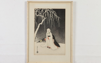 JAPANESE SCHOOL (late 20th century). WInter Snow, Lithographic affiche. Framed....
