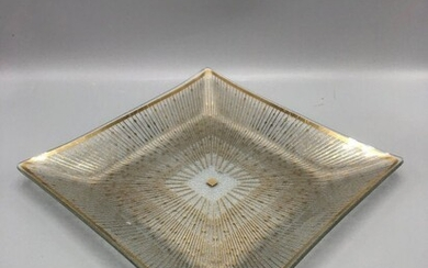 Mid century serving glass tray with gold detail signed