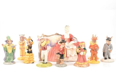 Nine Royal Doulton Bunnykins figures, and Belle of The Ball