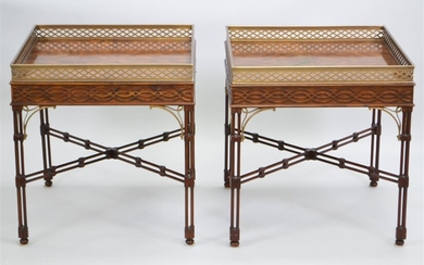 PAIR OF THEODORE ALEXANDER BRASS MOUNTED MAHOGANY END TABLES