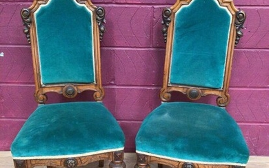 Pair of Victorian carved oak and walnut high back side chairs