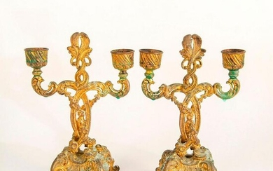 Pair of Vintage Brass Two Arm Candlestick Holders