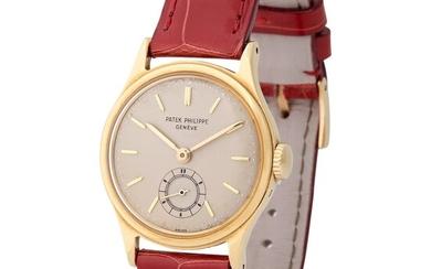 Patek Philippe. Very Elegant and Fine Calatrava-Style Wristwatch in Yellow Gold, Reference 2451, With Subsidiary Seconds and Extract from Archives