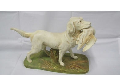 """ROYAL DUX HUNTING DOG 8"""" TALL 10"""" ACROSS IN GOOD CONDITION"""