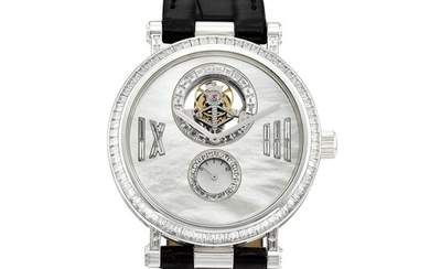 Reference HH13333   A limited edition white gold and diamond-set tourbillon wristwatch with power reserve indication and mother-of-pearl dial, Circa 2007   梵克雅寶   型號HH13333   限量版白金鑲鑽石陀飛輪腕錶,備動力儲備顯示及珠母貝錶盤,約2007年製, Van Cleef & Arpels
