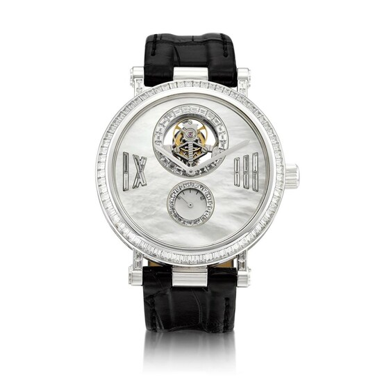 Reference HH13333 | A limited edition white gold and diamond-set tourbillon wristwatch with power reserve indication and mother-of-pearl dial, Circa 2007 | 梵克雅寶 | 型號HH13333 | 限量版白金鑲鑽石陀飛輪腕錶,備動力儲備顯示及珠母貝錶盤,約2007年製, Van Cleef & Arpels