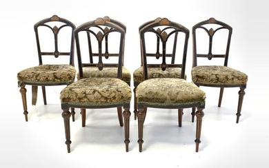 Set six late Victorian walnut and ebonised dining chairs,...
