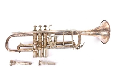 Silver plated trumpet 'The Clipper Tone', by and inscribed H...