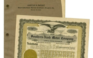 Southern-Nash Motor Company Stock Certificate and