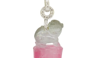 TOURMALINE AND DIAMOND FO-DOG PENDANT, carved from a single ...