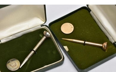 TWO CASED GOLF TEE AND MARKER SETS, the first in 9ct gold, 9...