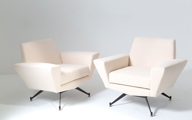 Two wooden beige armchairs. LEVI. 1950s