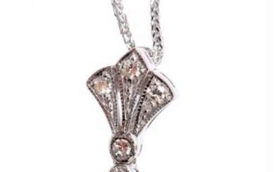 (-), White gold necklace with white gold pendant,...