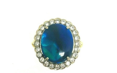 18K Yellow Gold Oval Cabochon Natural Black Opal