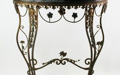 1920s Wrought Iron Demilune Marble Top Table