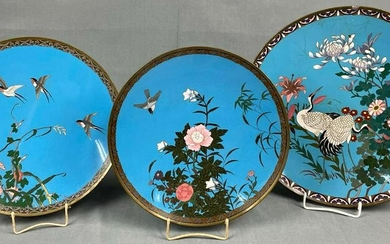 3 cloisonné plates. Probably Japan, China old. Up