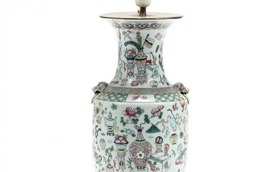 A Chinese One Hundred Antiques Vase Lamp