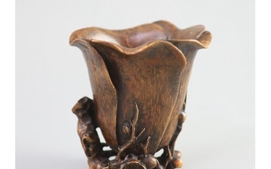 A Chinese bamboo magnolia libation cup, 17th/18th century,...