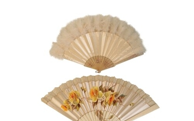 A FRENCH FAN, 19th century the silk pleated panel painted wi...