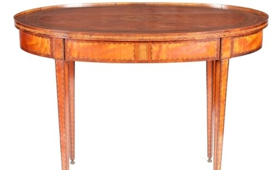 A GEORGE III OVAL INLAID MAHOGANY AND SATINWOOD PANELLED CEN...
