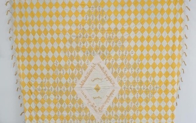 A Late 19th Century Decorative Signature Quilt, comprising yellow and...