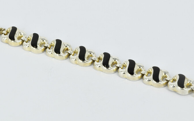 A MEXICAN SILVER AND ONYX BRACELET