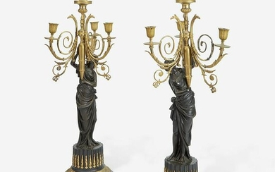 A Pair of Louis XVI Style Gilt and Patinated Bronze
