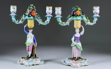 A Pair of Meissen Porcelain Two-Light Candelabra, 20th Century,...