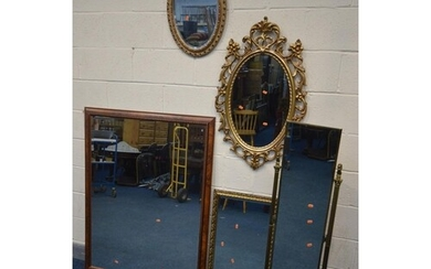 A QUANTITY OF MIRRORS comprising a brass rectangular cheval ...
