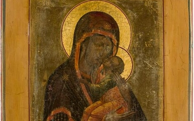 A RARE ICON SHOWING THE MOTHER OF GOD OF YAROSLAVL