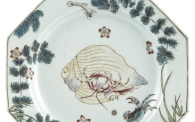 """A Rare Chinese Octagonal Porcelain """"Marine"""" Plate"""