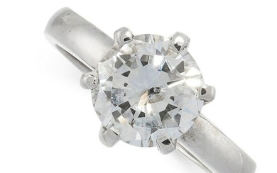 A SOLITAIRE DIAMOND ENGAGEMENT RING set with a round