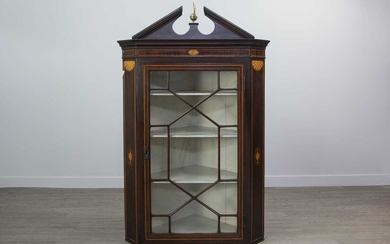 A VICTORIAN MAHOGANY TWO STAGE STANDING CORNER CUPBOARD