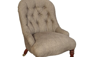 A VICTORIAN UPHOLSTERED CHILDS CHAIR with a buttoned back, a...