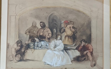 A Victorian Medieval Revival watercolour depicting a