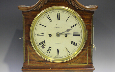 A Victorian rosewood bracket clock with eight day twin fusee movement striking on a bell with pull r