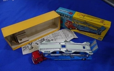 A boxed Corgi 1105 Carrimore Car Transporter, red cab with b...