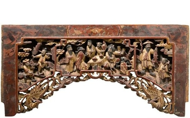 A carved wooden panel, China, 18th/19th century