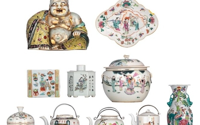 A collection of Chinese famille rose porcelain ware, late 19thC/Republic period