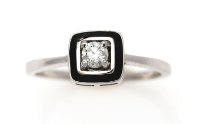 NOT SOLD. A diamond ring set with a diamond weighing app. 0.14 ct. encircled by black lacquer, mounted in 14k white gold. Size app. 50. – Bruun Rasmussen Auctioneers of Fine Art
