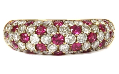 A gold ruby and diamond ring
