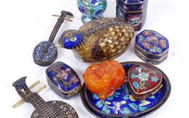 A group of Chinese cloisonne enamel items, including miniatu...