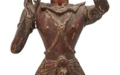 A large Burmese teak standing princely figure, Pagan Area, lacquered...