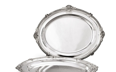 A pair of George IV silver oval meat-dishes, Benjamin Smith, London, 1823