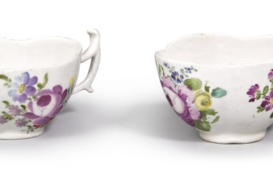 A pair of porcelain teacups, Imperial Porcelain Manufactory, St Petersburg, period of Catherine II, circa 1750