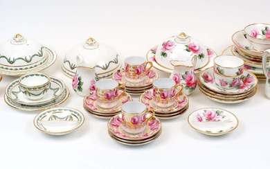 A quantity of British porcelain part tea sets retailed by T. Goode & Co., 20th Century, to include: a Hammersley & Co. dish and cover with laurel swag and gilt decoration, 19.5cm diameter, together with a similarly decorated tea bowl and saucer...