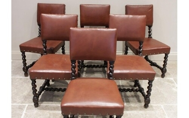 A set of six Victorian 17th century revival oak dining chair...