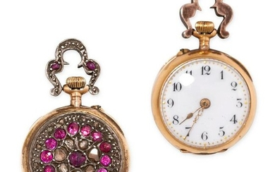 AN ANTIQUE RUBY AND DIAMOND POCKET WATCH in yellow gold